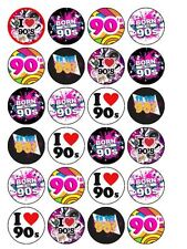 "24 x I Love The 90's Party Mix 1.5"" PRE-CUT PREMIUM RICE PAPER Cake Toppers"