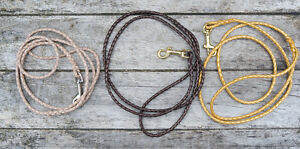 Dog Show Lead - Braided, 4mm Leather with a Trigger Clip