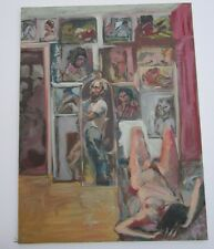 LARGE ROBERT LERNER PAINTING ESTATE ABSTRACT EXPRESSIONISM SELF PORTRAIT W NUDES