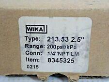 "WIKA 213.53 2.5"" PRESSURE GAUGE 200PSI/kPa 1/4""NPT LM"