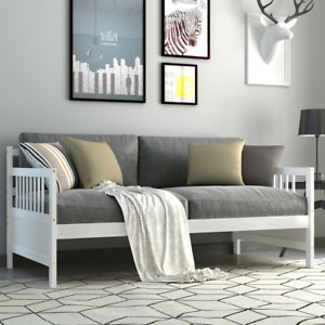 Twin Size Wooden Slats Daybed Bed with Rails
