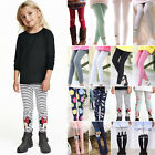 Kids Baby Girls Stretch Leggings Thick Warm Skinny Cartoon Trousers Pants 2-11Y