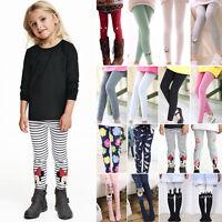 Children Kids Girls Cartoon Full Length Leggings Party Pants Trousers 1-9 Years