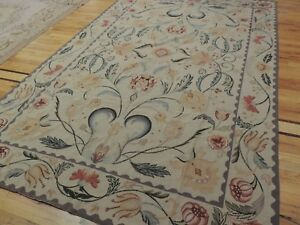 6x9 French Aubusson design Needlepoint oriental area rug wool blue/gray