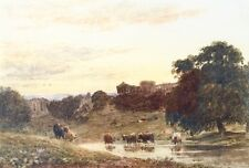 """Frederick Nash (1782-1856) Watercolour """"Cattle Watering"""""""