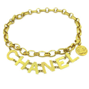 CHANEL CC Logos Medallion Charm Gold Chain Belt 93A Accessories Authentic 81917