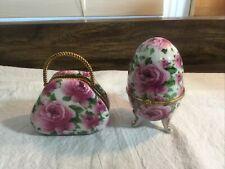 New ListingVintage Pink Rose Trinket Boxes ~ Egg Shaped And Purse Shaped