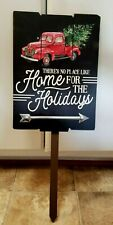 "New Wood Christmas Yard Sign Red Truck ""There's no Place Like Home"" 26"" x 10"""