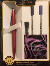 CROSS Red Ballpoint Pen With Stylus Plus Refills