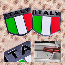 New 2x Aluminum Italy Italian Flag Car Auto Bike Chrome Emblem Decal 3D Sticker