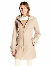 Anne Klein Womens Outerwear Zip Front Rain Coat W/ Hood- Select SZ/Color.