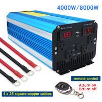 8000W Peak Pure Sine Wave Power Inverter DC 12V To 110V 120V AC remote control