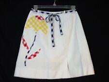Vtg David Smith Golf Skirt Skort White Plaid Flower Applique 10 (S/4)