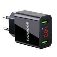 Dual USB 5V 2.2A LED Display Wall Home Travel AC Fast Charger Adapter US/EU Plug