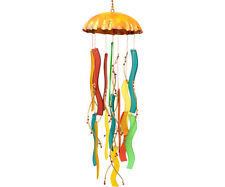 Sandblasted Glass Wind Chimes -  Coral Jellyfish Wind Chime  - GEBULEG580