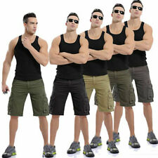 Mens Casual Military Shorts Baggy Work Trousers Solid Cargo Pockets Short Pants