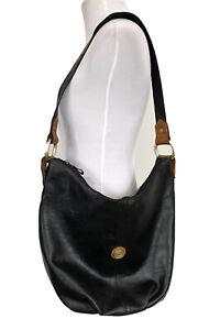 Capezio Vintage Black Leather Bucket Shoulder Bag Purse Slouch