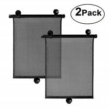 Retractable Car Window Sun Shade Visor Roll Curtain Blind Suction Pad 40x46cm 2x