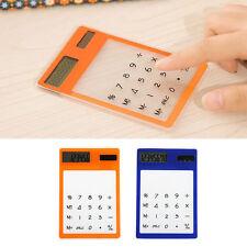 Mini Transparent LCD Solar Powered Calculator Touch Screen 8 Digit Ultra Slim