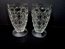2 Jeannette Clear THUMBPRINT Footed Juice Glass Tumblers-Set of Two