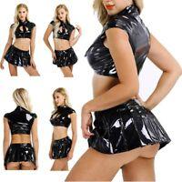Sexy Womens Girl Latex Lingerie Set Crop Top Mini Skirt Costume Fancy Dress Club