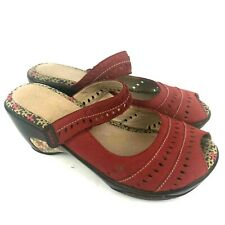 Womens JAMBU Touring Sport Wedge Red Leather Comfort Clog Slip On Shoes Size 8 M