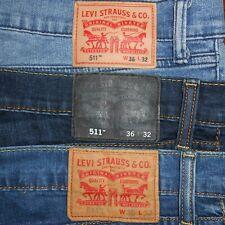 36x32 LOT OF THREE (3): Levi Strauss 511 Slim Fit Blue Jeans Flex Denim Stretch