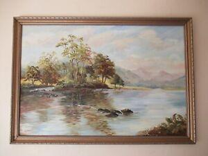 Large Old River Llugwy North Wales Impressionist Oil Painting H REYNOLDS Framed