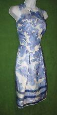 Taylor White Blue Floral Silk Organza Vintage-Inspired Social Tea Dress 4 $128