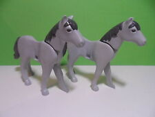 PLAYMOBIL – 2 chevaux gris / Horse / 3111 3268 3269 3314 4066 4188 4865 4871