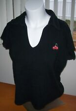 FASHION BUG Cherry Embroidered BLACK Polo Knit Top Size L
