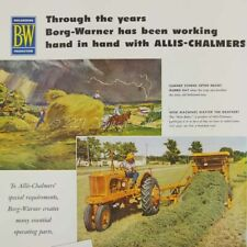 1952 Borg Warner Allis Chalmers Farm Hay Baler Tractor photo art decor print ad