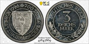 PCGS PROOF-63 CAMEO GERMANY WEIMAR REPUBLIC SILVER 3 MARK 1926 (LUBECK)