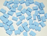 Lego Lot of 50 New Bright Light Blue Brick 1 x 2 Builiding Blocks Pieces