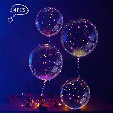 LEEHUR 4Pcs BOBO Transparent Balloons Battery Operated LED Light Up Flashing Bal