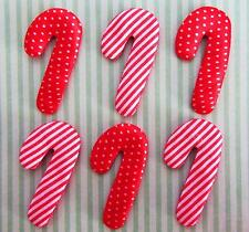 60 Candy Cane Stripe & Polka Dots Satin Applique/Christmas/trim/Padded/stick H22