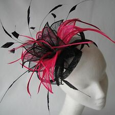 Black/Cerise Feather Fascinator for Weddings, Races and Proms