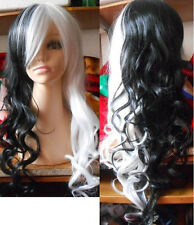 USJF894 pretty Cos black and white long curly Cosplay WIG wigs for women
