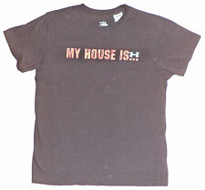"UNDER ARMOUR - HEATGEAR S/S BLACK T-SHIRT ""MY HOUSE IS UA"" ON FRONT  YLG  K#5611"