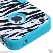 iPhone 4 4S Hybrid T Armor Snap-On Hard Case Skin Cover White Zebra Teal Blue