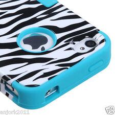 iPhone 4 4S Hybrid T Armor Snap-On Hard Case Skin Cover White Zebra Teal Blue
