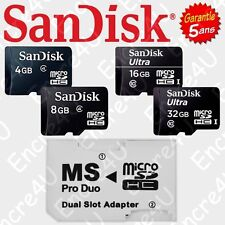 Adaptateur Dual Slot MS PRO DUO PSP + Cartes Mémoire Micro SDHC 4 8 16 32 Go Gb