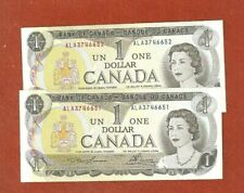 2 1973 Consecutive Serial Number One Dollar Bank Notes Gem Uncirculated G206