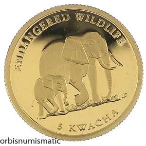 2004 MALAWI 5 KWACHA ELEPHANT ENDANGERED WILDLIFE 1/25 OZ 999 GOLD PROOF Z528