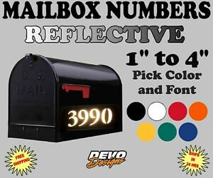 Mailbox Numbers REFLECTIVE Vinyl Decal Sticker House Numbers 7 colors - SET OF 2