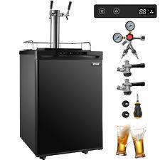 Vevor Full Size Kegerator Beer Dispenser Refrigerator Black Fridge Double Taps