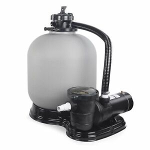 """Above Ground Swimming Pool Sand Filter System with Pump 4500GPH 19"""" 1HP"""