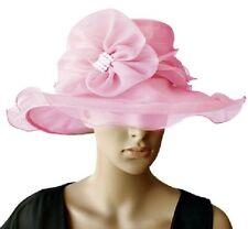 Elegante Cappello da donna ROSA Fiore Perle Organza Sposa Di Ascot