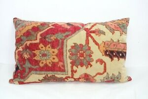 Pottery Barn Lumbar Pillow Cover Red 16x26 Persian Velvet Rug Style Floral
