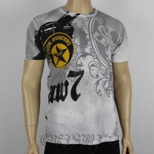 Raw 7 Mens Celebration Rhinestone Embellished Light Grey T-shirt Top Tee